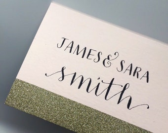 Blush and Gold Place Cards: Modern