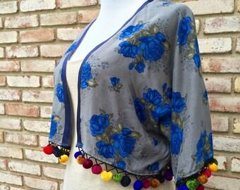 Kimono, Pom Pom Kimono, Boho Kimono, Beach Coverup, Fringed Kimono, Gypsy Top, Hippy Kimono Top, Cropped Kimono, Resortwear, Weddings, Peace