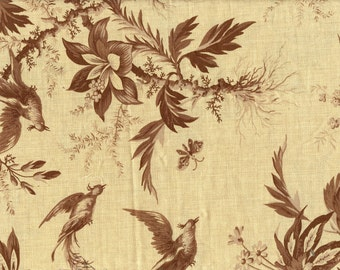 3/8 Yd Josephine Fabric by French General - Oyster Old Brown - Birds Flowers - Large Scale Floral - Beige Tan Cotton Quilting Fabric