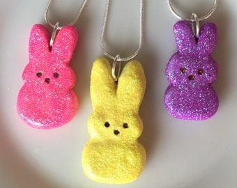 Clay Peep Necklace.  Choice of color.  So cute!