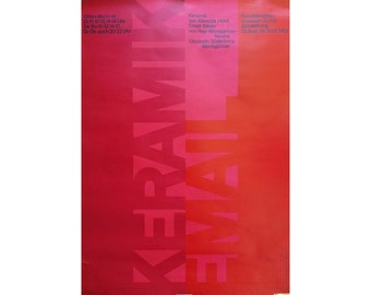 Rare Vintage Art Swiss Museum Poster, Red and Magenta 1960s Mid Century Modern Typography Frameable Wall Art