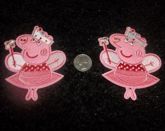 ONE Pretty Princess Pig Applique
