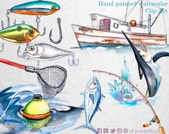Fishing clipart, Digital clip art, Fishing watercolor illustration, Instant download clipart, Fishing boat, fishing line, watercolor fish