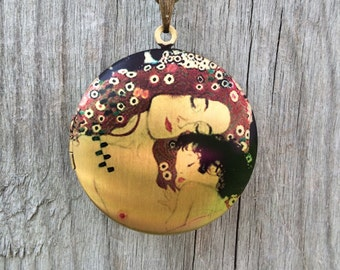 Klimt Mother and Child Antique Gold Photo Locket with Brass Bow