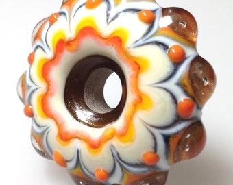 Handmade Glass Bead - Orange and Gold Mandala Style Handmade Glass Bead