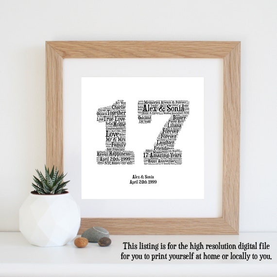 Gift For 17th Wedding Anniversary: Personalised 17th ANNIVERSARY GIFT Word Art Printable