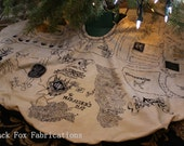 Marauder's Map Tree Skirt - Hand Drawn