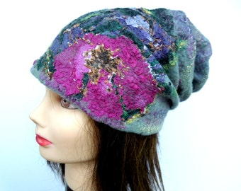 Felted designer hat Felted wool hat, Violet flower hat, Handmade wet felted hat, handmade merino wool hat