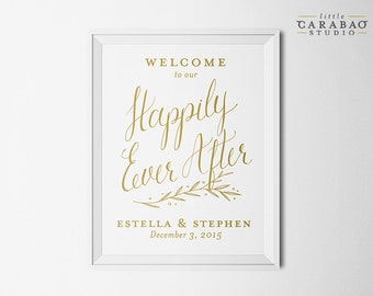 Happily Ever After Sign DIGITAL Wedding Welcome Sign Calligraphy PRINTABLE Reception Sign - Little Carabao Studio - #PC107