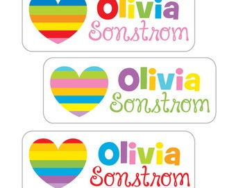 Waterproof Name Labels, School Stickers, Personalized Name Labels, Rainbow Hearts, Kids Waterproof Stickers, Daycare, Camp, Dishwasher Safe