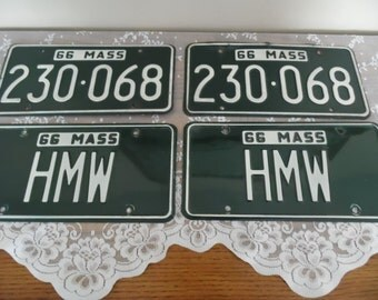 Antique Mass License Plates 1966 Number Plates Letter Initial HMW Plates Dark Green New England Man Cave Decor