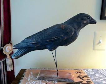 Papier Mache Crow Decoy 1920s