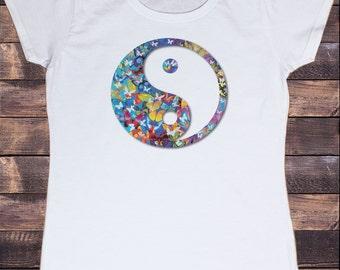 Women's White T-shirt Beautiful Butterfly Yin Yang Zen Print 30-12