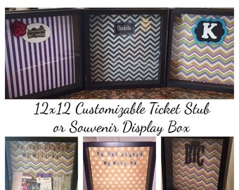 "Customizable 12x12 ""Admit One"" Ticket Stub Holder Display Shadow Box - Personalize to Your Style and Taste!"