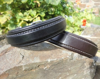"Square Raised and Padded Leather Dog Collar, 5/8"", 3/4"", 1"" and 1 1/4"" widths to choose from, Handmade"