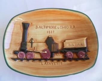 1970's Ceramic Wall plate Train , steam engine LAFAYETTE
