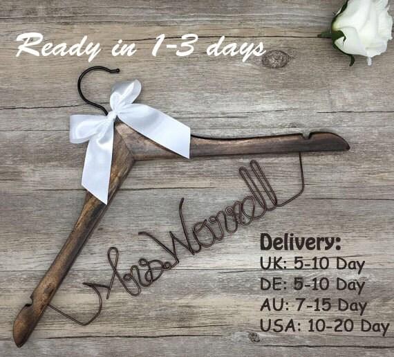 Surprise Sale Personalized Bridal Wedding Hanger Bridal: SaleWedding HangerPersonalized Wedding By Blackteawhitetea