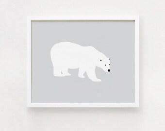 Polar bear Printable art Gray and white Minimalist Bear Postert 8x10, 11x14 Horizontal print Wall art INSTANT DOWNLOAD