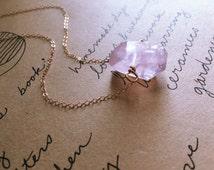 Rose Quartz Necklace - Crystal Necklace-Pink Quartz Necklace - Rose Quartz Pendant Necklace - Rose Quartz Crystal Necklace