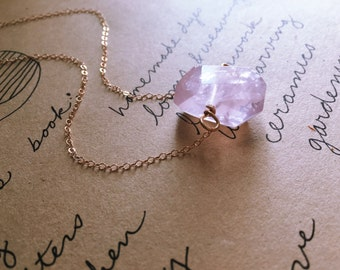 Rose Quartz Necklace - Crystal Necklace-Pink Quartz Necklace -  Pendant Necklace - Rose Quartz Crystal Necklace Gift For Her - Silver - Gold