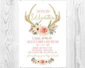 "Floral Antler Watercolour Girls Birthday Invitation - Boho - Tribal - Woodland - Gold & Peach - Invite - 5x7"" - Digital File - Printable"