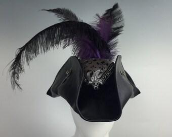 Leather Venetian Tri-Cornered / Tricorn / Pirate Hat w Hand Sculpted Vampire Skull & Embellishments