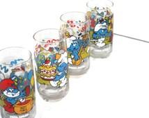 Vintage Smurf Glasses Set, Collectible