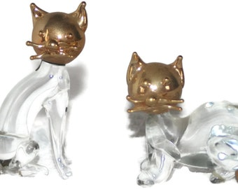 Vintage Hand Blown Miniature Glass Cats, Collectible Glass Cats