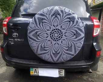 Knitted cover for a car wheel, delicate case, doily crochet, Case wheel, accessory for car, large doily crochet