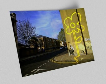 ACEO Banksy Yellow Flower Line Graffiti Street Art Canvas Giclee Print