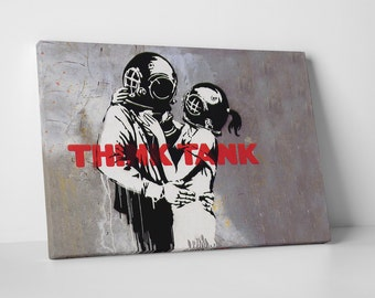 Think Tank by Banksy Gallery Wrapped Canvas Print. BONUS! BANKSY DECAL!
