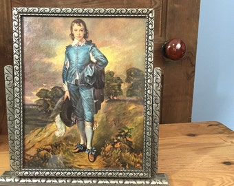 "Vintage tilt-style table top wood frame with print of ""The Blue Boy"" by Thomas Gainsborough"