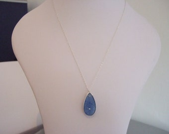 "18"" Sterling Silver Necklace with Sterling Silver Blue Chalcedony Bezel Pendant with Carved Flower Feature."