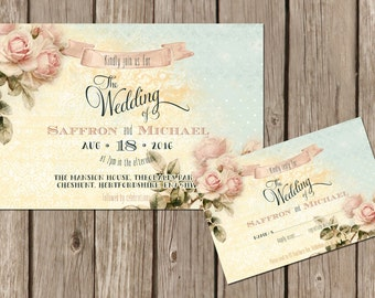 Personalised Rustic Pastel Mint & Floral Wedding Invitations