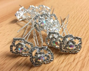 CP11 20mm Crystal Rose Rhinestone Diamante Hand Crafted Wedding Prom Hair Pin