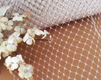 Vintage Millinery Net Veiling Dark Ivory Cream Bridal