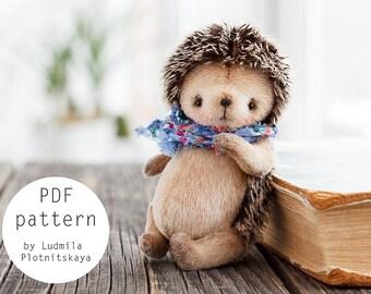 Teddy Hedgehog pattern, teddy bear hedgehog pattern, teddy hedgehog, teddy pattern, soft toy pattern, 4.7 inches