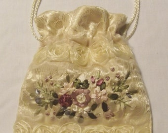 Ivory Satin and  Lace Bag