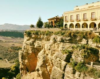 Spain Photography, Landscape, Cliffs, Gorge, Black and White, Spanish Decor, Travel Photo, Fine Art Print, Europe, gold, green, Wall Art