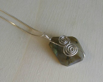 """Labradorite pendant with 18"""" sterling silver chain"""