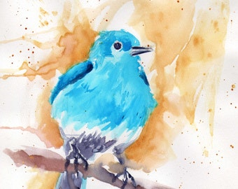 "Print-Bluebird (water color) on 10""x10"" water color paper"