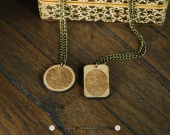 Personalized wooden Fingerprint Couple Necklace/ Fingerprint Jewelry/wooden Custom fingerprint jewelry/ real fingerprint/ Baby fingerprint