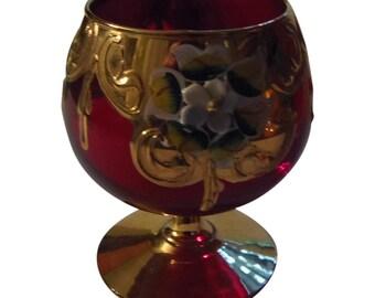 Murano Glass Ruby and Gold Trim Cordial Glass Italian Glass Barware