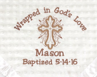 Personalized Baby Baptism Blanket |  Wrapped in Gods Love | Custom Embroidered Christening | Baby Gift | Completely Personalized by You!