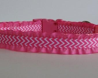 Pink Chevron Small Dog Ruffle Collar