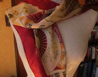 Red Silk Scarf/ Asian Fans