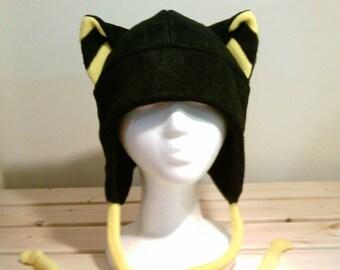 Black Kitty Cat - Cat Fleece Hat -  Cat AVIATOR Hat - Cat earflap Hat - Cat Cosplay Hat - Cat Anime Hat - Cat Manga Hat - Cat Goth - punk