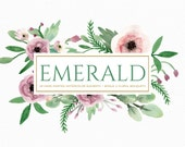 Watercolor hand painted floral clipart pale violet and emerald