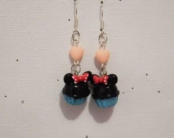 "Earring ""Blue Cupcake"" small Pearl Heart"