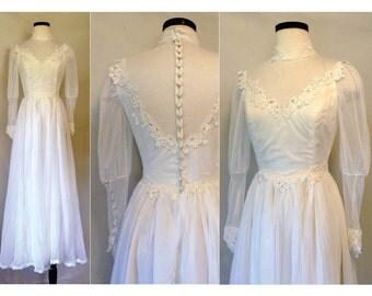 1970s does Victorian Wedding Dress // 70s Victorian style wedding dress // Vintage Wedding Dress